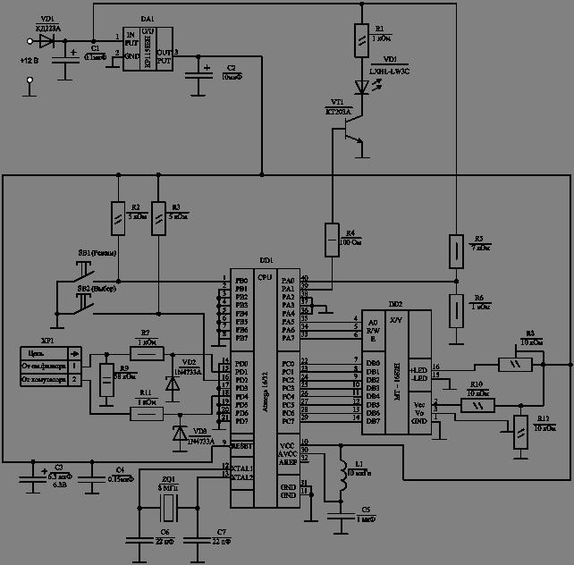 В принципиальной электрической схеме (рисунок 3.1) в качестве излучающего элемента используется мощный светодиод.